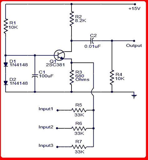 Rangkaian Mixer Audio skema rangkaian lifier audio mixer