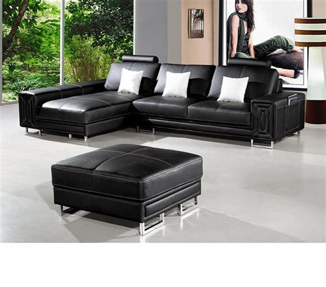 Dreamfurniture Com T957 Modern Black Leather Sectional Modern Leather Sofa Sectional