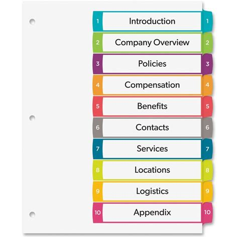 Avery Ready Index Customizable Table Of Contents Contemporary Multicolor Dividers Ave 11842 Avery Table Of Contents Template