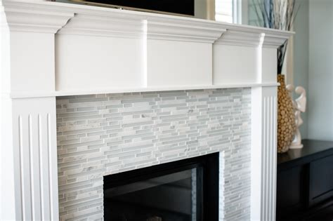 glass tile fireplace surround family room modern with