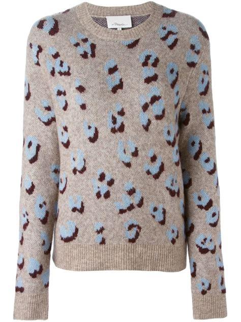 animal print sweater 3 1 phillip lim leopard print sweater in gray lyst