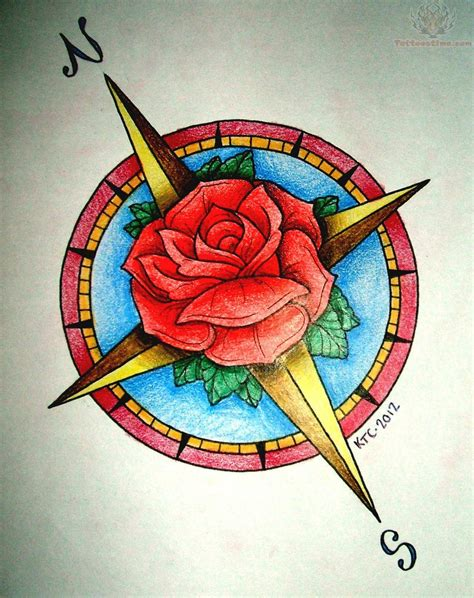 rose and compass tattoo and compass tattoos