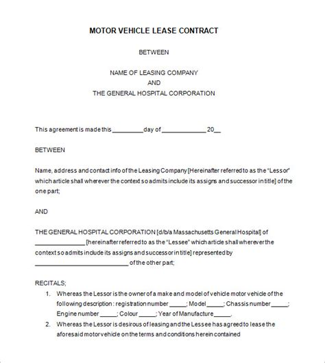 auto lease agreement template 9 lease contract templates free word pdf documents