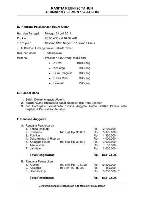 membuat proposal reuni proposal reuni smpn 157 alumni 1988