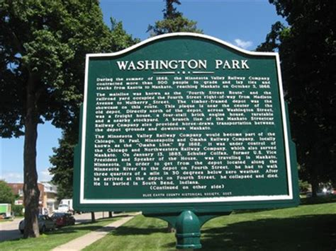 washington park historical marker mankato mn