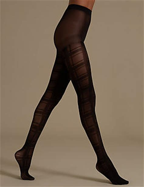 patterned tights m s checked opaque tights