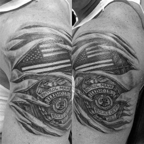 police badge tattoo guys torn skin american flag patch and badge