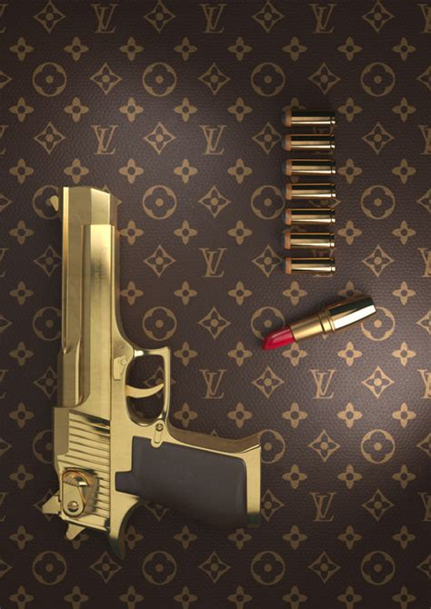 gold gun themes gun louis vuitton tumblr