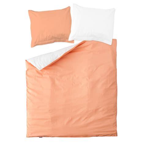 bed pillow set peach pink white 100 cotton reversible bed linen set