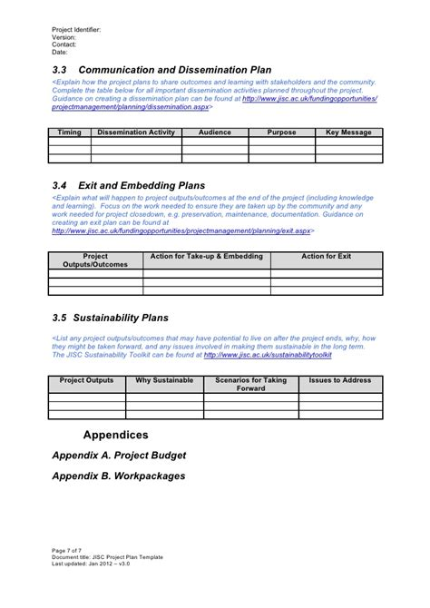 dissemination plan template project plan template v3 0 jan 2012
