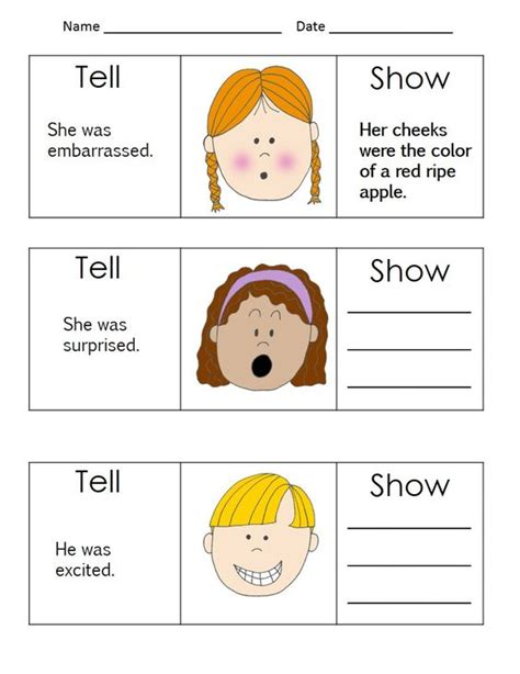 Show Don T Tell Worksheet by Show Don T Tell Worksheet Free Worksheets Library