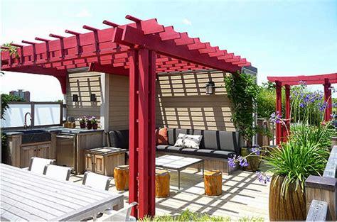 Japanese Trellis Rooftop Pergolas Contemporary Deck Boston By
