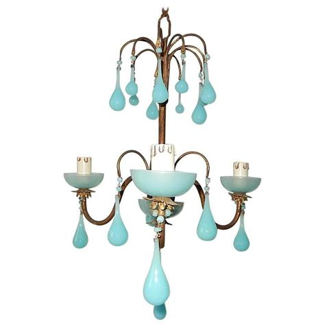 Chandelier Bobeche 1930 Blue Opaline Bobeches And Drops Chandelier At 1stdibs