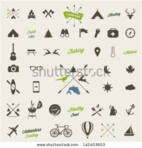 tattoo icons mountain icons set mountain climbing climber ski resort