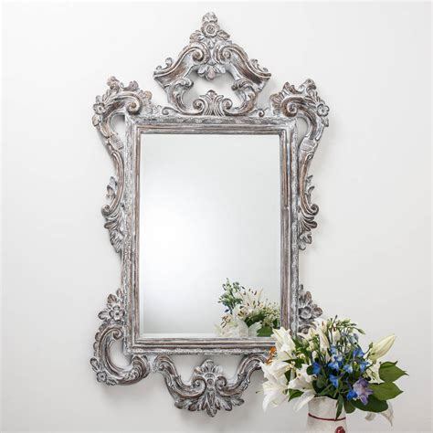 Handcrafted Mirrors - large white wash carved wood effect mirror by crafted