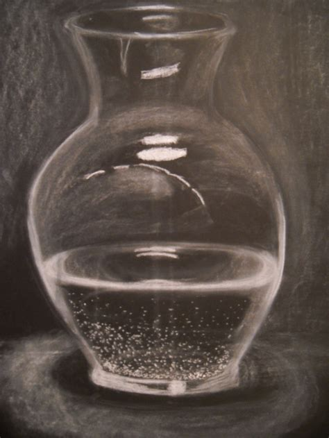 Vase Of Water by Glass Vase Filled With Water Done In White Chalk On Black