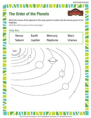 the order of the planets free science worksheet for 3rd