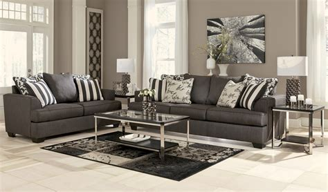 Levon Charcoal Living Room Set From Ashley 73403 Charcoal Living Room Furniture