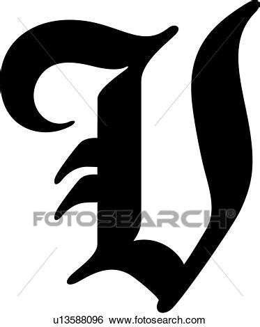Viex V clipart alphabet vieux anglaise capital lettre