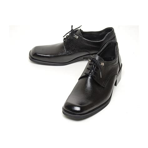 s square top black leather open lacing oxford shoes