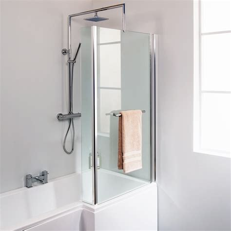 Bathroom Shower Screens L Shaped Fixed Bath Shower Screen With Towel Rail