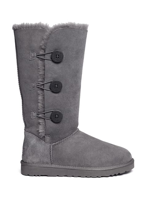 ugg boots bailey button ugg bailey button triplet boots in gray grey lyst