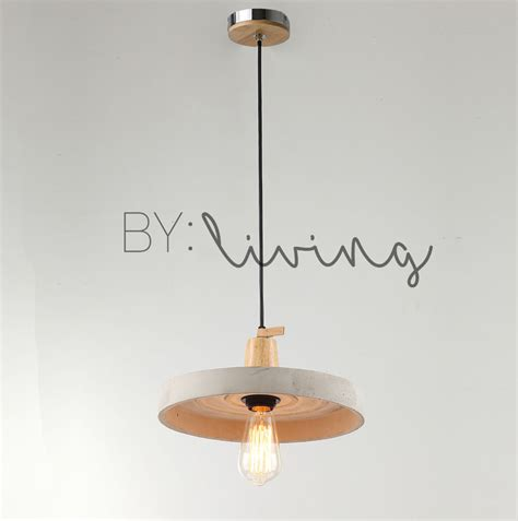 concrete and wood pendant light modern urban industrial lighting molded concrete timber