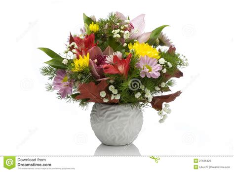 Fresh Flowers In Vase by Fresh Flowers In A White Vase Royalty Free Stock Image