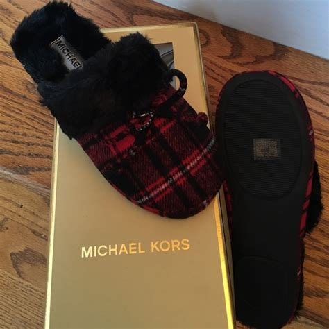 michael kors house shoes micheal kors house slippers michael kors size 7 red black from karen s closet on poshmark