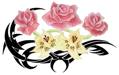 rose and lily tattoo designs lilies and roses design