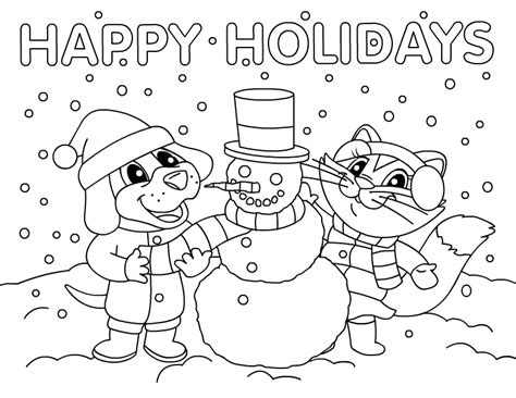 free coloring pages happy holidays free coloring pages of snowman