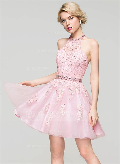 Mini Tulle Dress a line princess halter mini tulle lace homecoming