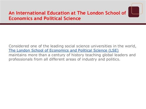 Lse School Of Economics And Political Science Mba by Jacinto Solivellas De Oleza An International Education At