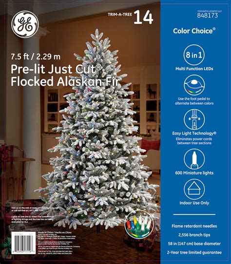 ge 75 ft pre lit alaskan fir flocked artificial christmas tree with 600 color changing warm white led lights 17119 ge just cut 174 flocked alaskan fir 7 5 ft color choice 174 led 600ct 7mm lights warm