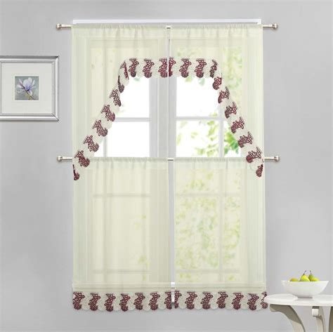 burgundy and beige curtains beige 4 pc window curtain set burgundy and ivory macrame
