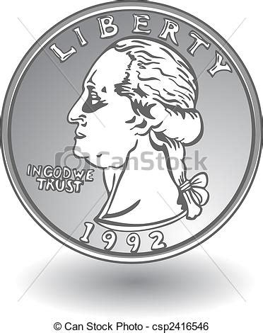 Drawing Quarter by Clip Vector Of Quarter On White Csp2416546 Search