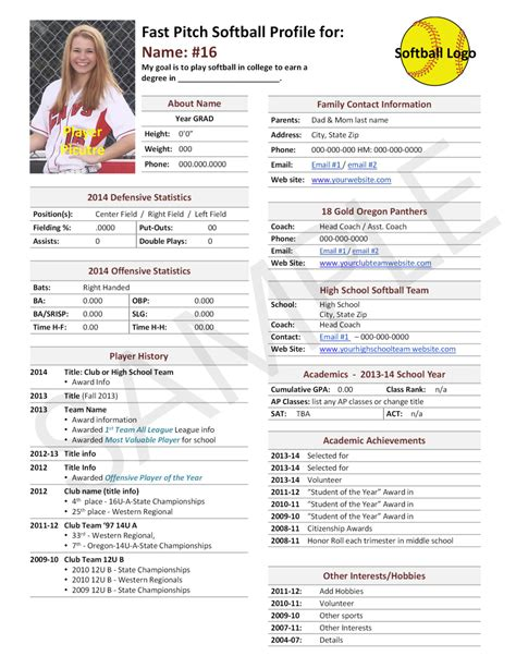 Softball Player Resume Template Fast Pitch Softball Player Profile Template Used For College
