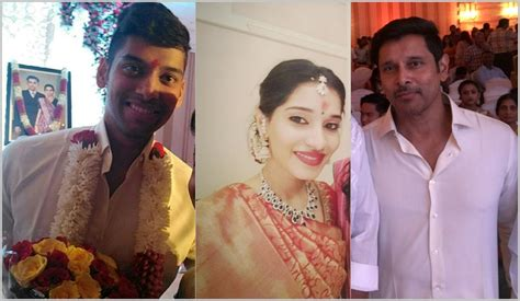 actor vikram family photos wife dmk leader mr m karunanidhi wishes vikram daughter in