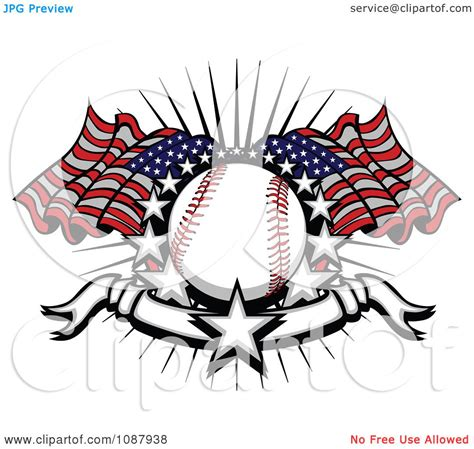 clipart baseball with american flags stars and a banner