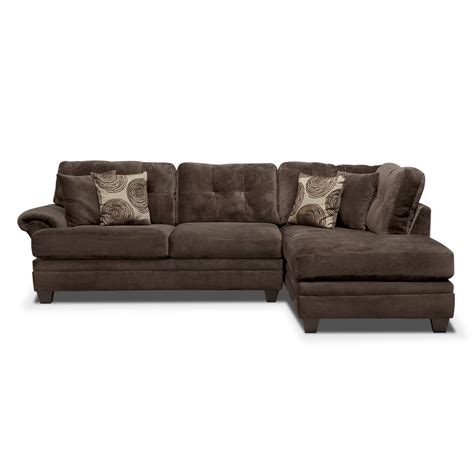 chocolate chaise cordelle 2 piece right facing chaise sectional chocolate