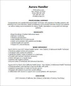 Behavioral Therapist Sle Resume by Professional Behavioral Health Technician Templates To Showcase Your Talent Myperfectresume