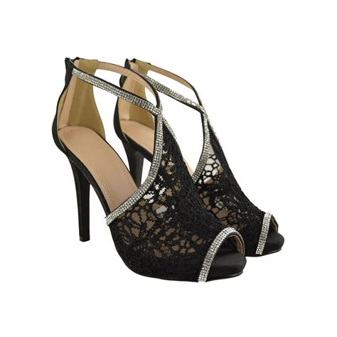 high heels with lace black lace and diamante high heel stilettos