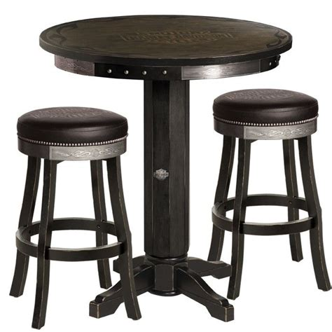 Harley Davidson Pub Table Bar Stool Set by Harley Davidson 174 Bar Shield Flames Pub Table Stool Set