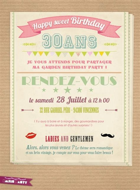 Carte d'invitation anniversaire rétro   Pour mes loulous   Pinterest   Birthdays, 30th and Scrap