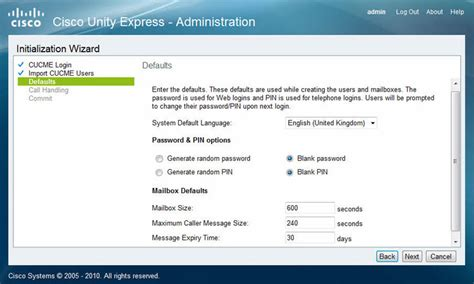 reset voicemail password in cisco unity cisco unity express installation setup service module