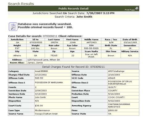 Criminal History Record Information Sle Search Results