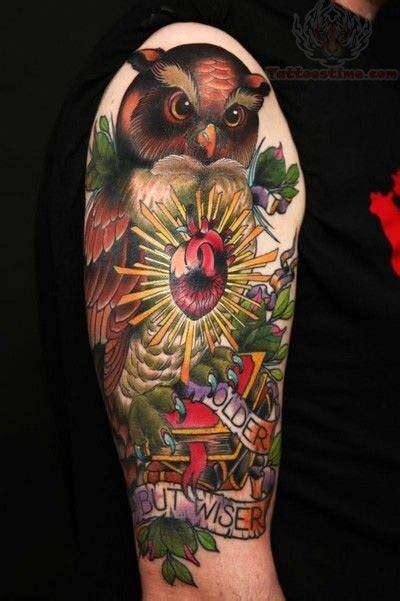 color half sleeve tattoo designs half sleeve color ink owl