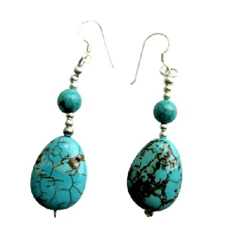 Sterling Silver Handmade Earrings - handmade turquoise flat oval 92 5 sterling