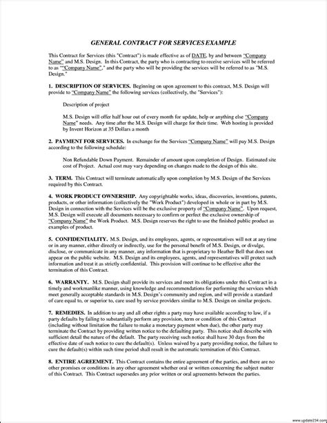 general service agreement template free general service agreement template template update234