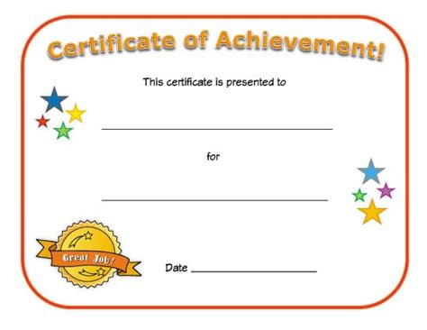 free printable certificate of achievement template blank certificate of achievement all network